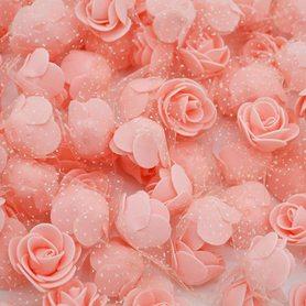 Róże piankowe z tiulem brzoskwiniowe - 10szt. kreatywne