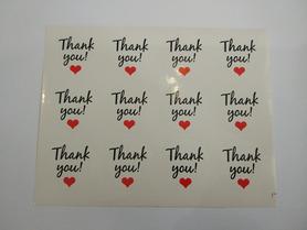 Naklejki ozdobne podziękowania,thank you, białe 12szt.