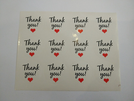 Naklejki ozdobne podziękowania,thank you, białe 12szt. (1)
