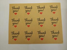Naklejki ozdobne podziękowania,thank you, brązowe 12szt.