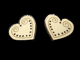 Duże drewniane serduszka - 2 szt. zakochani