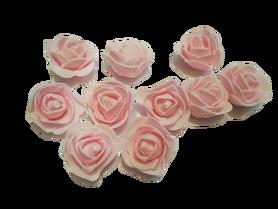 Róże piankowe jasno różowe - 10szt. kreatywne