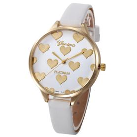 Piękny damski zegarek na rękę, biały pasek