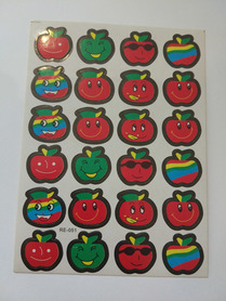 Naklejki ozdobne jabłuszka kolorowe, mix kolorów, buźki